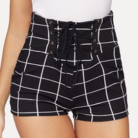 Lace Up Front Grid Skinny Shorts