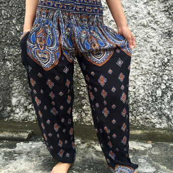 Ethnic Yoga Pants Boho chic Gypsy soul Paisleys festival Styles Clothing Tribal Beach Fashion Summer For Women in Black blue