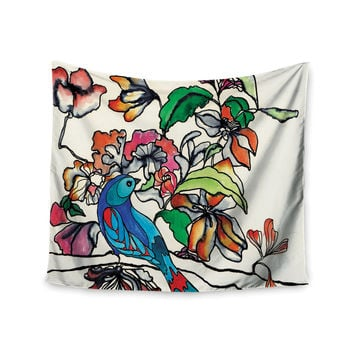 "Sonal Nathwani ""Magic Garden"" Rainbow Bird Wall Tapestry"
