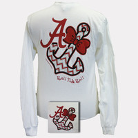 New Alabama Crimson Tide Chevron Anchor Bow White Bright Long Sleeve T Shirt
