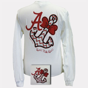 SALE Alabama Crimson Tide Chevron Anchor Bow White Bright Long Sleeve T Shirt