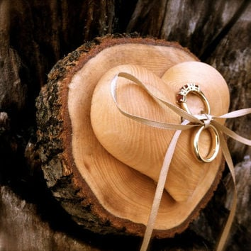 Rustic wedding ring bearer pillow holder wooden heart country weddings