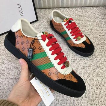 GUCCI Fashion Women Men Casual Sport Flats Shoes Sneakers Brown