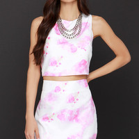 Watercolor Ways Pink and Ivory Print Two-Piece Dress
