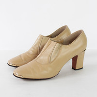 Vintage 60s Nude Gold Trim Chunky Heeled Booties | 9