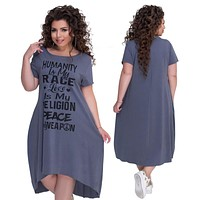 Plus Size Letters Printed Short Sleeve