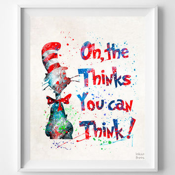 Dr. Seuss Print, Doctor Seuss Quote, Seuss Watercolor, Type 2, Wall Art, Nursery Posters, Artwork, Dorm Decor, Mothers Day Gift