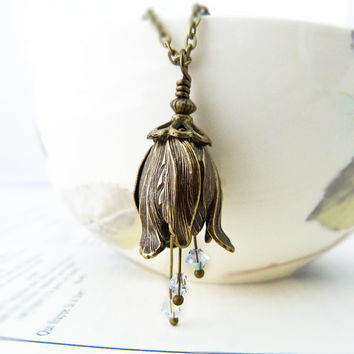 Flower Bell Swarovski Necklace