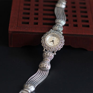 CUTE BOWKNOT DESIGNER MARCASITE CRYSTALS DRESS WATCHES LUXURY VINTAGE 925 STERLING SILVER BRACELET WRIST WATCH ANALOG NW7327