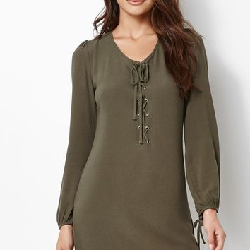 Kendall & Kylie Lace-Up Long Sleeve Dress - Womens Dress
