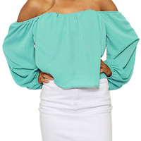 Off-Shoulder Turquoise Top