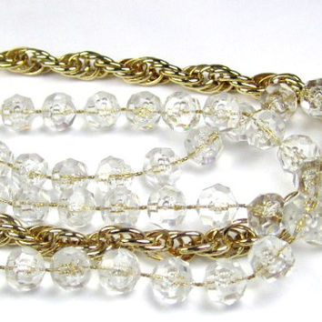 Sarah Coventry Triple Strand Crystal Necklace 1960s Vintage Jewelry