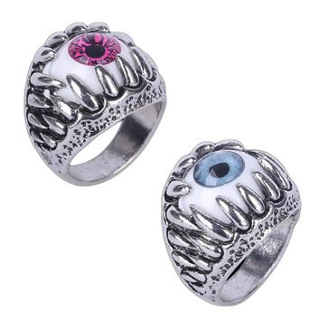 1pc Men's Vintage Dragon Claw Evil Eye Ring Fashion Devil Eyeball Halloween Party Props Stainless Steel Rings Men Jewelry