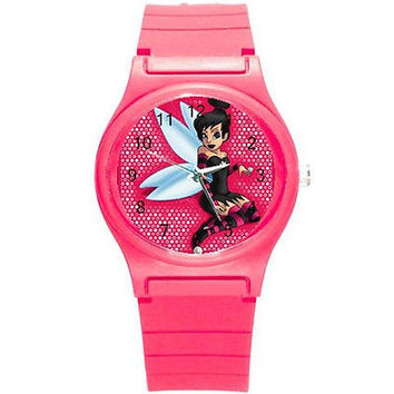 Gothic Pink Tinkerbell on a Pink Plastic Watch. New Great For Kids