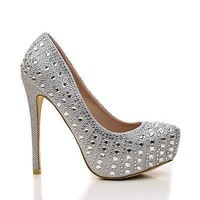 Nataly05 By Bella Luna, Rhinestone Studded Platform Stiletto Dress Heels