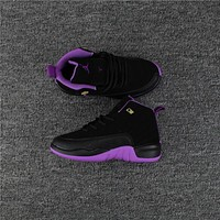 Kids Air Jordan 12 Black/purple Sneaker Shoe