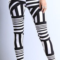 BOLD PRINT STRIPED LEGGINGS
