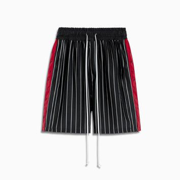 track team gym short / black stripe + red