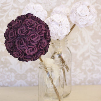 Paper Roses Bouquet Vintage Rustic Wedding (F10456)