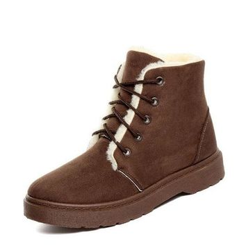 Lace Up Flat Ankle Boots For Women