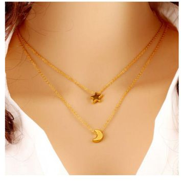 ONETOW Multi - chain chain necklace big - name temperament five - pointed star moon clavicle chain