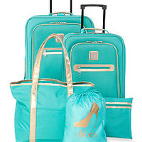 ND New Directions® 5-Piece Turquoise with Gold Trim Luggage S