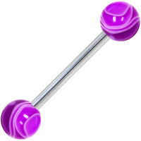Purple MARBLE Barbell Tongue Ring