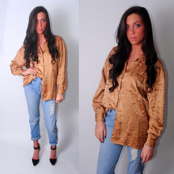 Vintage 1990s Oversize Oversized Silk button down long sleeve floral gold bronze blouse top