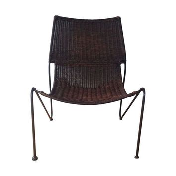 Pre-owned Mid Century Modern Cane and Iron Sling Scoop Chair