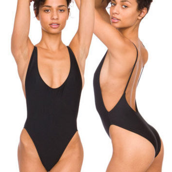 Nylon Tricot High-Cut One-Piece | Tanks | Women's Bodysuits & Rompers | American Apparel