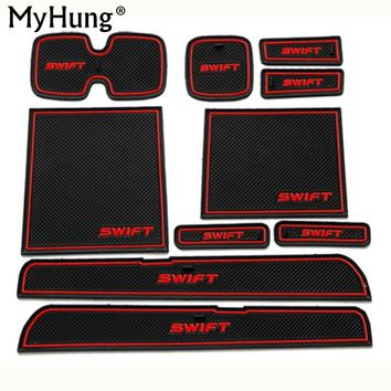 Newest Fit for Suzuki Swift 2005-2014 Anti Slip Car Door Slot Rubber Latex Groove Mat Interior Cup Cushion Car-styling 10pcs