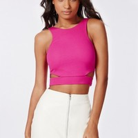 Missguided - Leona Cut Out Crop Top Pink