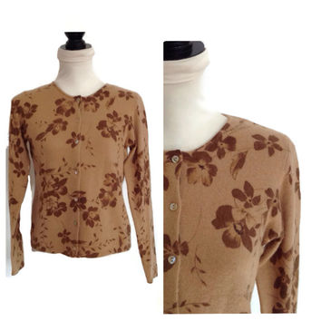 Vintage 1980's Carol Little Sweater-Cardigan-Lambswool and Angora-Tan with Brown Flowers-Medium-Hipster Sweater-Ladies Clothing