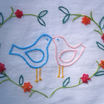 Hand Embroidered Love Bird Dish Towel READY TO SHIP