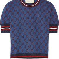 Gucci - Metallic jacquard-knit sweater