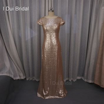 Badgley Mischka Sequin Cowl Back Bridesmaid Dresses Sheath Champagne Rose Gold Wedding Maid of Honor Factory Custom Made