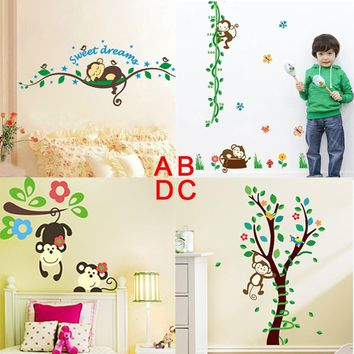 Nursery monkey Kindergarten Jungle Sweet dreams Art Wall Stickers Wall Decor Kids room Decal