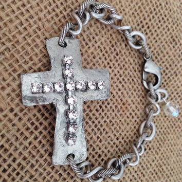 Sideways Cross Bracelet/Swarovski Crystals