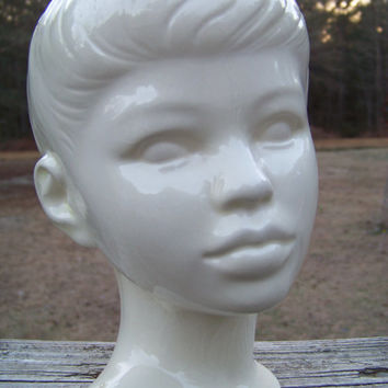 Vintage Holland Mold Young Boy Bust...Ceramic Childs Head Figurine...White Pottery