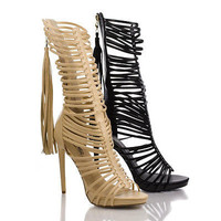 Sanford04 Black Pu By Wild Rose, Open Toe Zipper Tassel Mid Calf Gladiator Stiletto Heel Pumps
