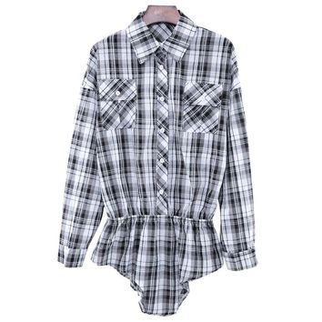 Chic Turn Down Collar Long Sleeve Plaid Print Button Design Romper for Women