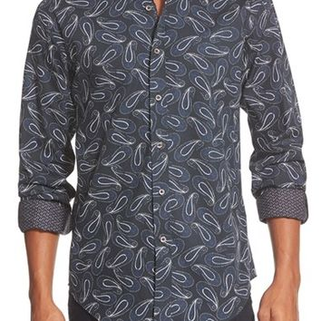 Men's Bugatchi Shaped Fit Woven Sport Shirt,