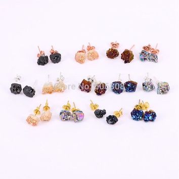 Crystal Metal Plating Quartz Earrings 03
