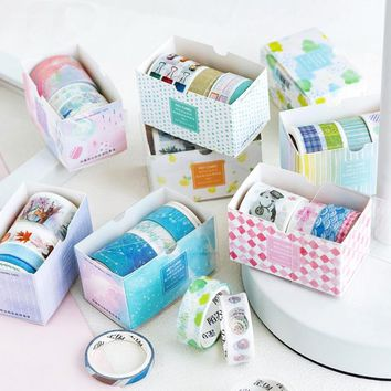4pcs/box 5-30 mm x 3 m Good life series washi tape photo album Scrapbook Adhesive decorative tape diy Handmade Gift Card sticker