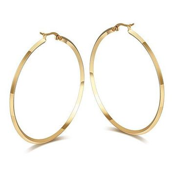 Fashion Womens Stainless Steel Round Large Size Big Hoop Earring GoldSilver 57mm224quot