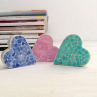 Mosaic Three Hearts Set Art Object Collectibles Home Decor Sculpture Bookshelf EggShell Mosaic Decor Green Red Blue Double-Sided Mosaic