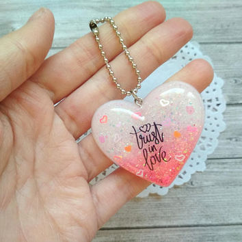"Valentine's day keychain, love keychain, charms hearts resin cabochons ""Trust in love"" ""Thinking of you"" holographic, gift, silver keychain"