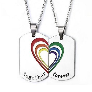NECKLACE JEWELRY LGBT Rainbow Heart (2 pc) Stainless Steel Gay Pride