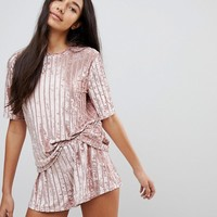 ASOS TALL Velvet Burnout Self Stripe Tee & Short Pajama Set at asos.com