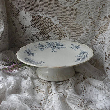 Ironstone cake plate, French antique cake stand, cake pedestal, vintage compote, shabby chic, county home, cottage chic, fruit bowl